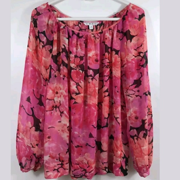 Cabi tops 590 small pink floral sheer blouse poshmark cabi 590 small pink floral sheer blouse mightylinksfo